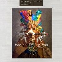 Ручная роспись высокое качество в Перо шляпа Собака Картина маслом на холсте Реалистичная живопись Забавный рисунок стены Животные масла К