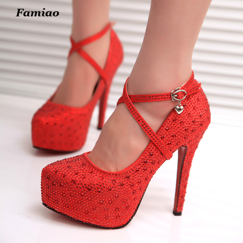 FAMIO 2017 Crystal Red Silver Bottom High Heels Shinny Rhinestone Bridal Wedding Shoes Women Plus Size Pumps Fast Shipping