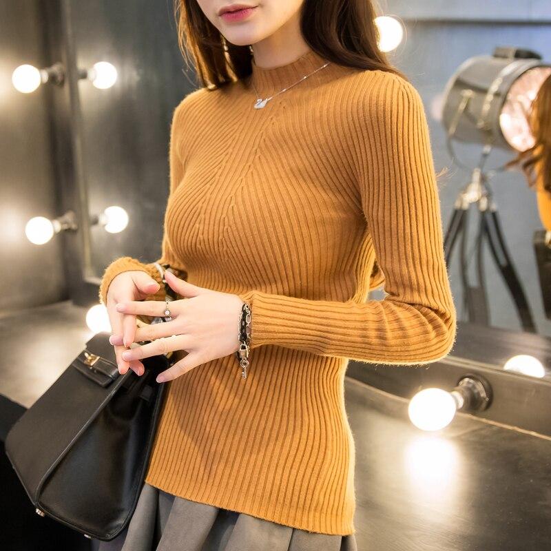 2018 Jarní móda Dámské svetry vysoké elastické sexy štíhlé Teplé těsné Bottoming svetr ženy elegantní Pletené svetry