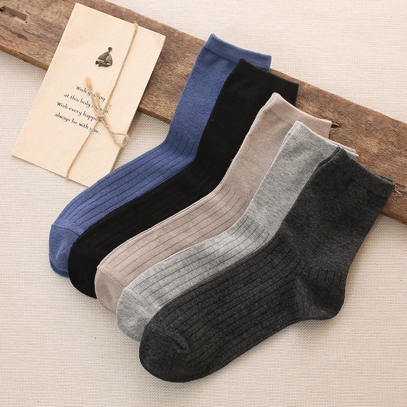 Новые осенние и зимние мужские хлопковые носки классические однотонные мужские носки в Вертикальную Полоску|men cotton socks|men sockscotton socks | АлиЭкспресс