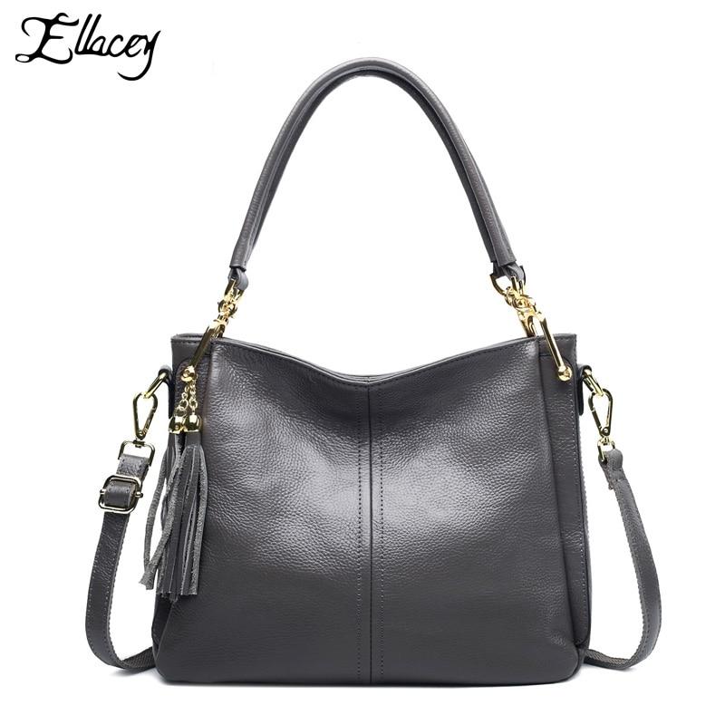 2016 Genuine Leather Handbags Famous Designer Women Messenger Bag Big Shoulder Bag Fashion Women Tote Bag With Tassel Female все цены