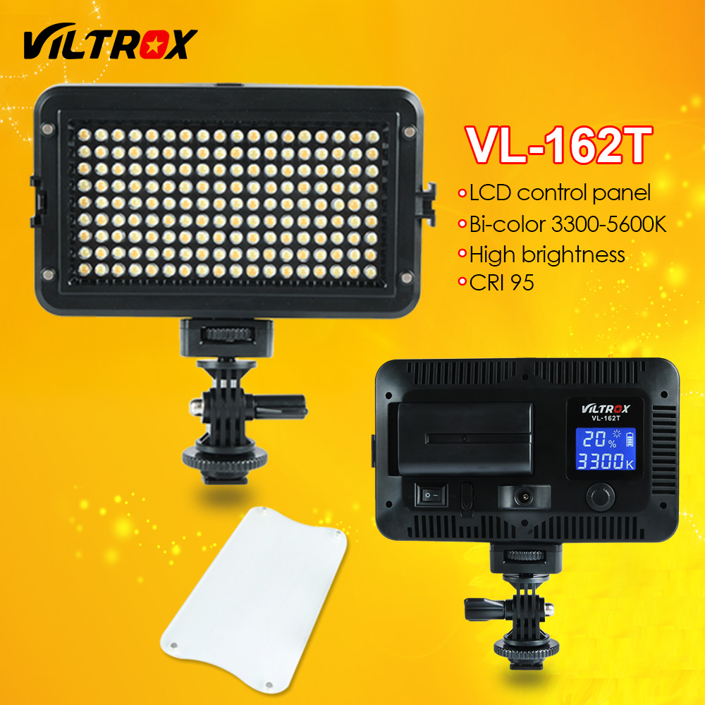 Viltrox VL-162T Camera LED Video Light LCD Panel 3300K-5600K Bi-Color Dimmable for Canon Nikon Sony DSLR photography Camcorder godox led 308y 308 leds professional led video 3300k light with remote control for canon nikon camera dv camcorder
