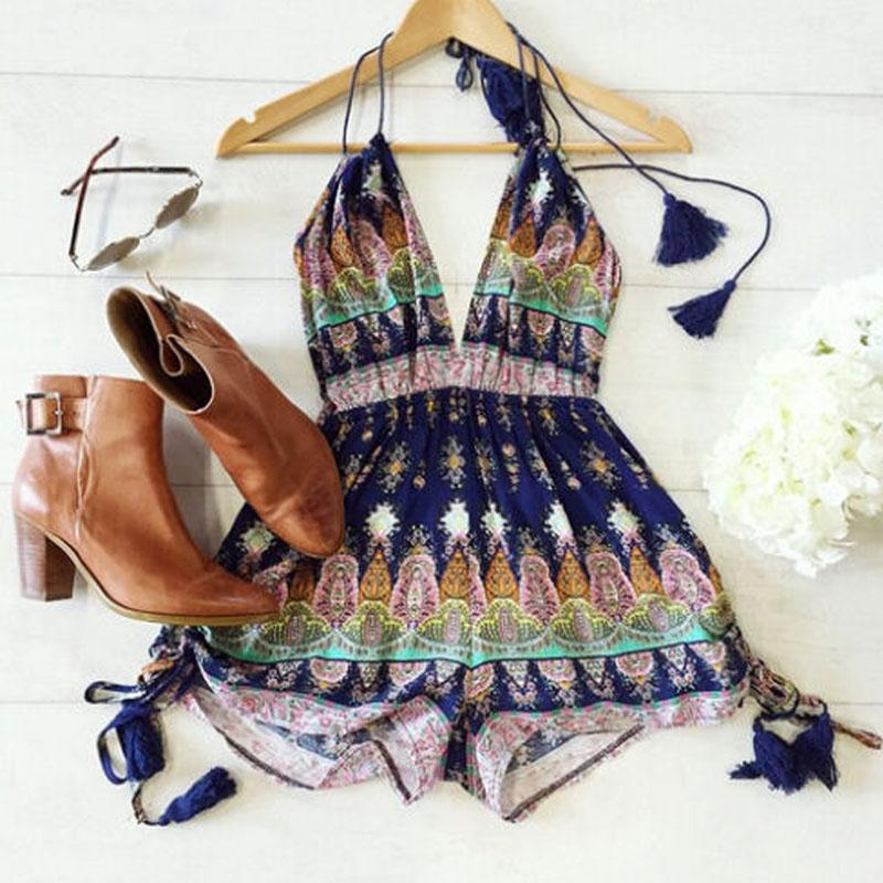 2016 Sexy Rompers Womens Summer Jumpsuit High Waist Gorgeous Multi Straps Print Backless Playsuit Shorts Jumpsuits Plus Size 7