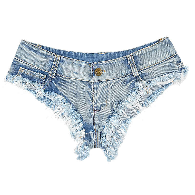 Sexy ripped Pole taniec szorty Tassel bardzo niskie talii 2019 letnie kobiety Bar szorty niebieski Clubwear odzież imprezowa szorty DK085S40