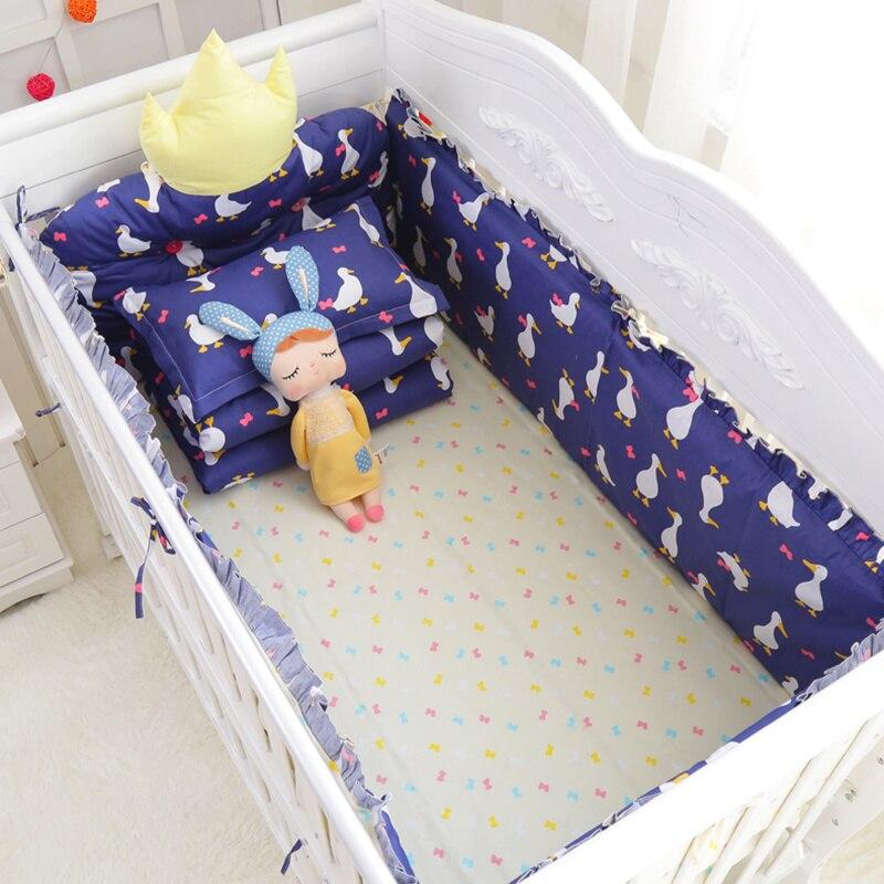 Новое поступление! 7 шт. новорожденных, Crown подголовник кроватки вокруг безопасный бамперы Детские Постельное белье включают Бамперы Лист С