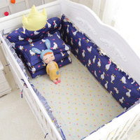 New Arrival! 7Pcs Newborns Appease Crown Headrest Crib Around Safe Bumpers Baby Bedding Set Include Bumpers Sheet Quilt Pillow