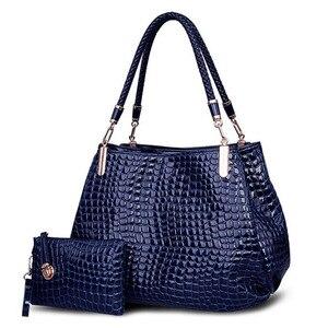 Image 5 - 2 bag/set  Fashion crocodile borse women totes lady handbag+purse/wallet carteras mujer big capacity black white shoulder kit