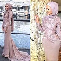 2019 Бледно розовый мусульманских женское вечернее платье с длинным рукавом Кружева аппликация хиджаб Высокая шея платье Русалка на выпускн