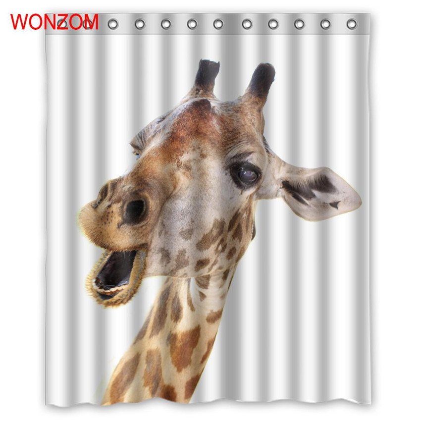 WONZOM Giraffe Bathroom Accessorie Camel Shower Curtains With 12 Hooks For  Bathroom Decor Modern Zebra Bath Waterproof Curtain In Shower Curtains From  Home ...