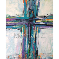 Hand Painted Abstract Oil Painting Contemporary Cross Painting Christian Art Teal Black Purple Canvas Fresh Take