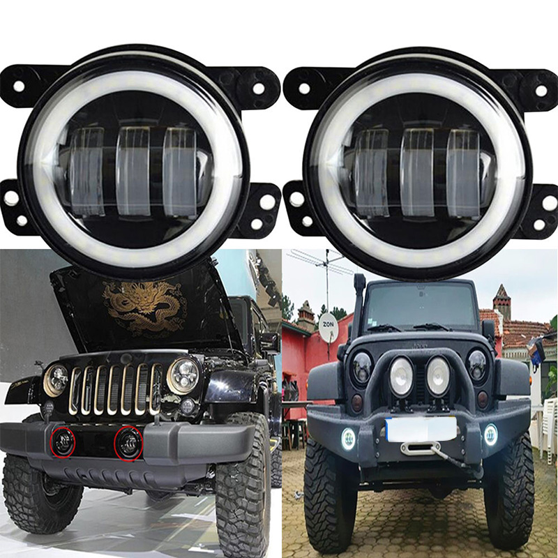 4 inch Round 30W LED fog light/lamp 6000K White halo ring DRL Headlamp for Jeep Wrangler JK TJ LJ 4x4 Offroad 4 inch round led fog light white halo ring drl angle eyes for jeep wrangler jk lj tj headlight auto driving offroad lamp