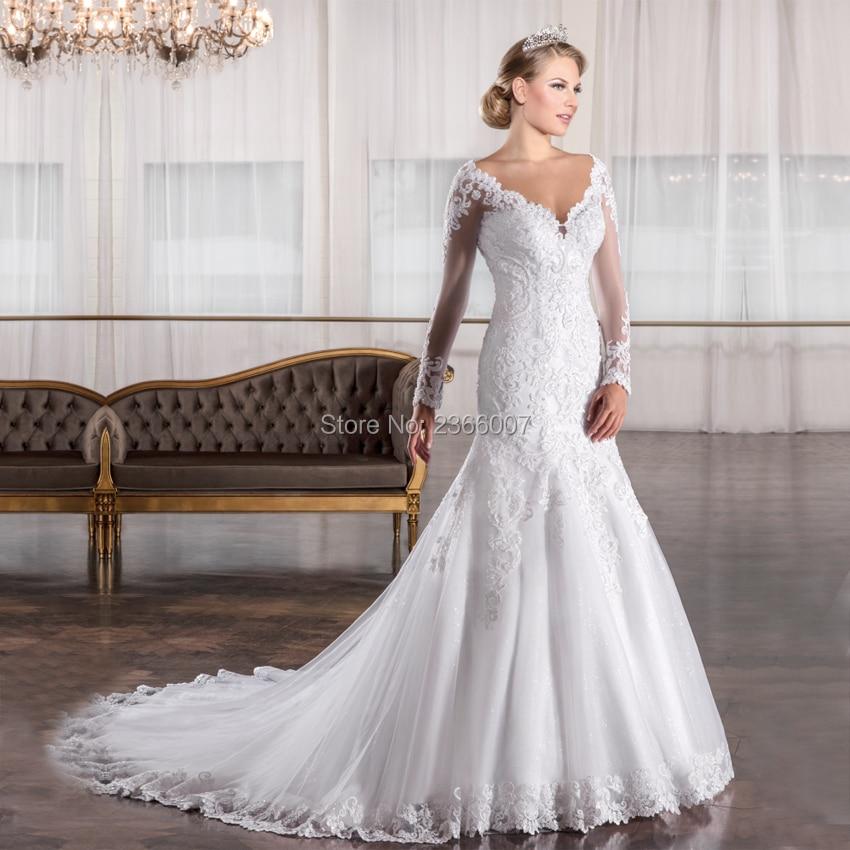 Robe De Mariage Plus Size Wedding Dress White Sheer Tulle Long Sleeves Wedding Bridal Gowns brautkleider