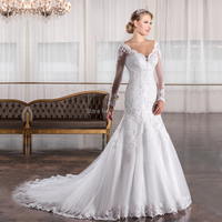 Robe De Mariage Plus Size Wedding Dress White Sheer Tulle Long Sleeves Wedding Bridal Gowns brautkleider hochzeitskleid 2018