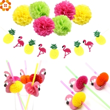 Colorful Paper Pompoms Flamingo&Pineapple Banner 3D Flamingo Flexible Drinking Straws Summer Pool Hawaiian Party Flamingle Decor(China)