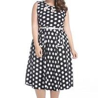 Large Size Women Clothing Retro 50s Hepburn Polka Dot Swing Dress Female Sleeveless Plus Size Tunic Dresses 5XL 6XL Vestidos
