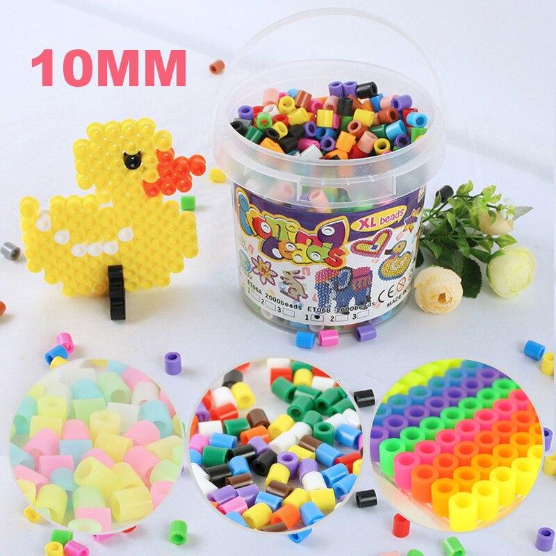Mixte couleur 10mm 2000 pcs en bouteille écologique bricolage hama perler 3D melty fer Jouets pour artisanat enfants artisanat perles Cadeau livraison gratuite