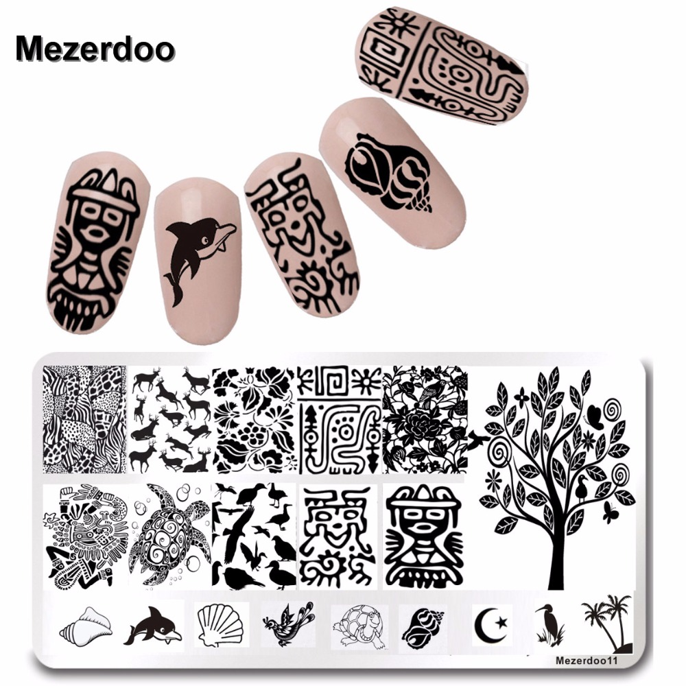 Nail Art Image Plates Rectangle Maya Design Image Plate Marine Life Style Nail Stamping Template 12 * 6cm Mezerdoo11