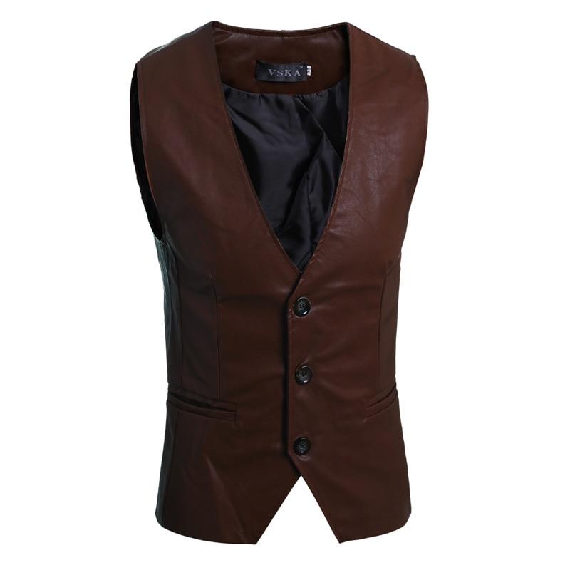 new fashion men suits vest simple wild men s slim solid color casual leather vest single-breasted business colete 5891