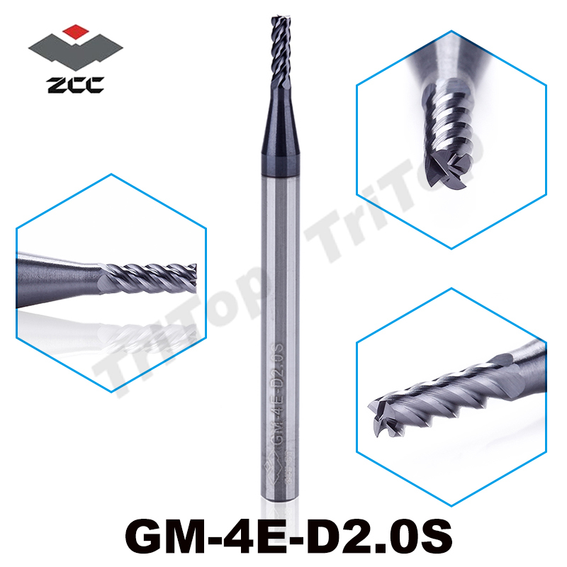 5pcs/lot Free Shipping  ZCC GM-4E-D2.0S Cemented Carbide 4 Flute 2mm Flattened End Mills With Straight Shank Cnc Milling Cutter