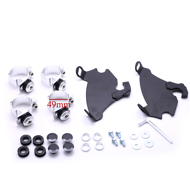 Motorcycle 49mm Headlight Fairing Shade Mask W/Trigger Lock Mount Kit For Harley Dyna Super Glide FXDC Low Rider FXDL 3