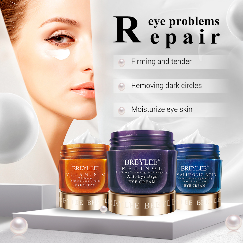 BREYLEE Hyaluronic Acid Moisturizing Eye Cream Retinol Ageless Wrinkle Remover Eye Serum Vitamin C Whitening Firming Eye Care