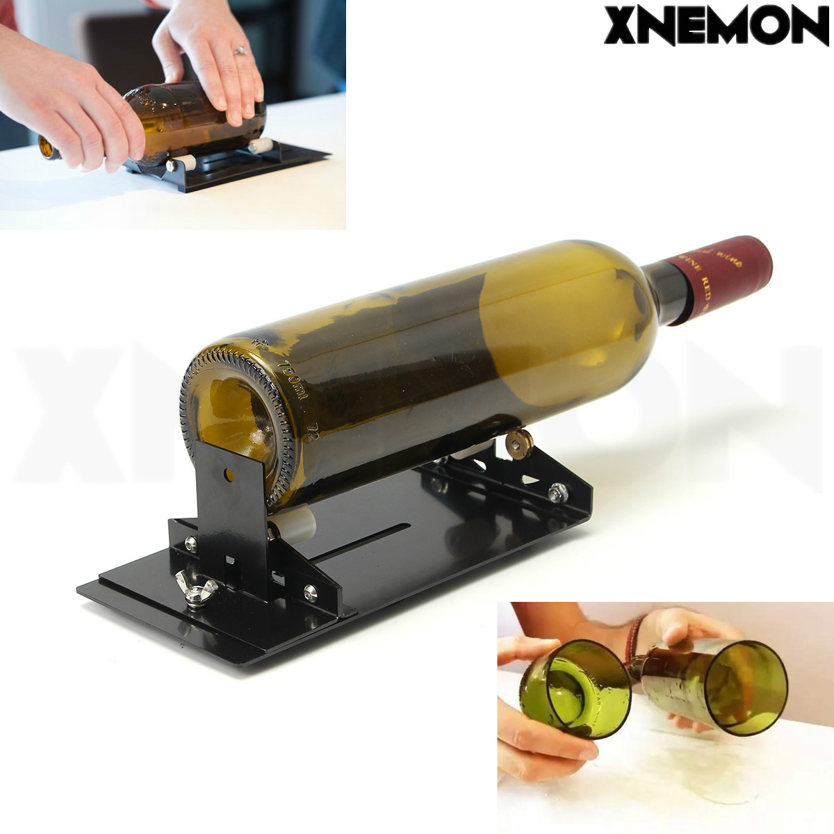XNEMON Glass Bottle Cutter Machine for Wine Beer Glass Bottles Bottle Cutting Tool Cutters with Plastic Pulley, YG8 Cutter Wheel oil feed pistol grip stained glass cutter cutting tool