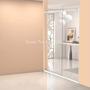 Image 2 - Wysokiej jakości 1 zestaw ze stali nierdzewnej bezramowe łazienka prysznic okucia do drzwi przesuwnych zestaw sprzętu kabiny bez Bar lub szklane drzwi