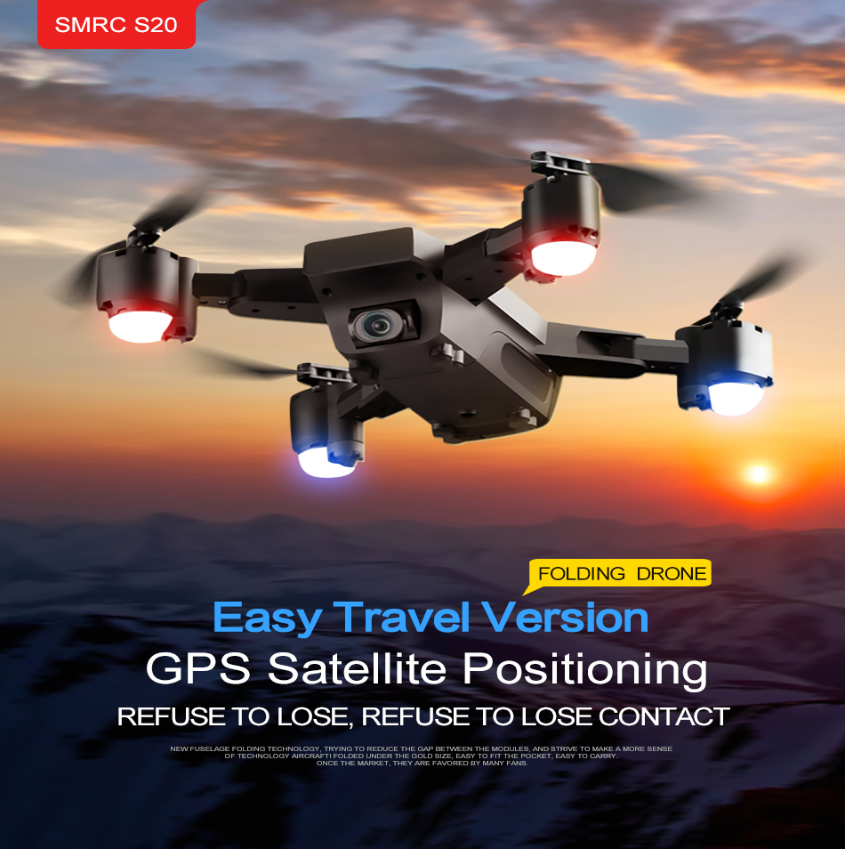 S GPS FOLLOW ME FPV RC Drone With Video 1080P HD Camera Photos Features Double Quadcopter 5MP pixel Foldable toy drone 2