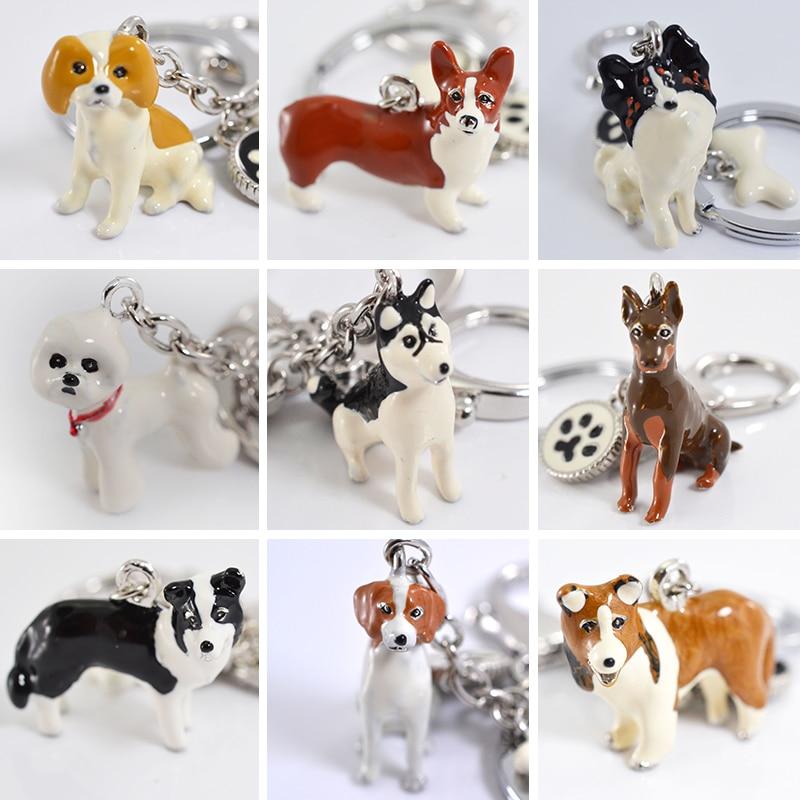 Keychains 3d animal de estimação pintados à mão cão artesanato bonito presente chaveiro amantes do cão dachshund chaveiros animal de estimação carro chaveiro jóias mulher
