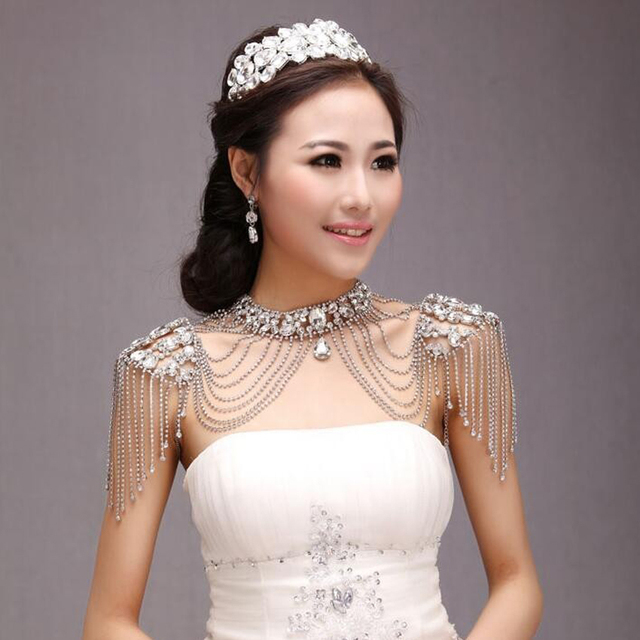 Vintage Luxury Wedding Jewelry Long Crystal Necklace Chains Bridal Shoulder Strap Jewellery Long Chain Accessories For Women 16
