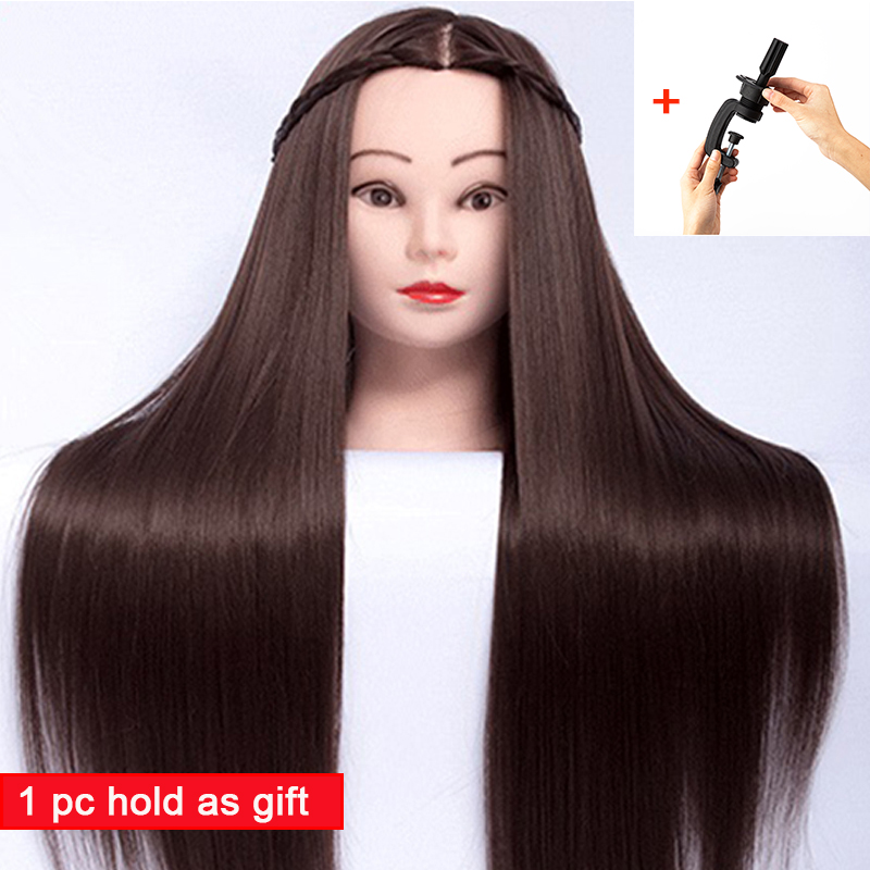 65cm Hair Styling Mannequin Head Maroon Hair Long Hair Hairstyle Hairdressing Training Doll Female Mannequins With Wig