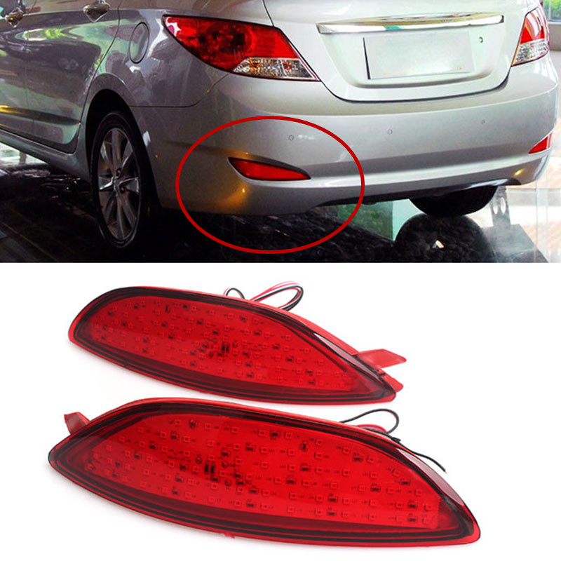 2PCS Car-styling Tail Rear Bumper Reflectors Lights 12V LED Tail Fog Light For Hyundai Accent /Verna Parking Warning Lamp 2pcs red rear bumper reflectors light brake parking warning night runing tail lamps led for honda odyssey 2007