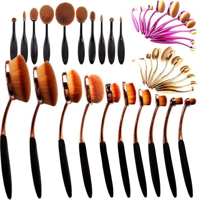 10 Unids/set NUEVO Cepillo de Dientes Forma Oval Ceja Pincel de Maquillaje Polvos Base maquillaje Pinceles Herramientas Oro Negro Caja Al Por Menor