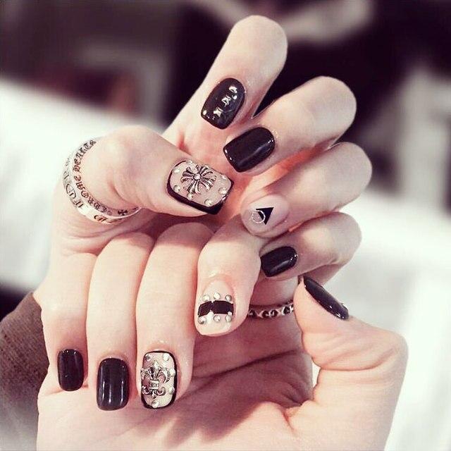 24PCS Nail art products Fashion magazines crow heart nail strips ...