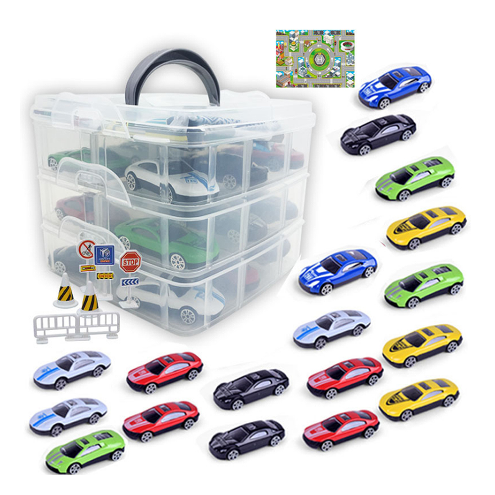 18 Pcs Alloy Car Toy Model Kit City Route Map Small Garage Toy Sub-format Portable Storage Box With 18 Hot Wheels Cars Toy
