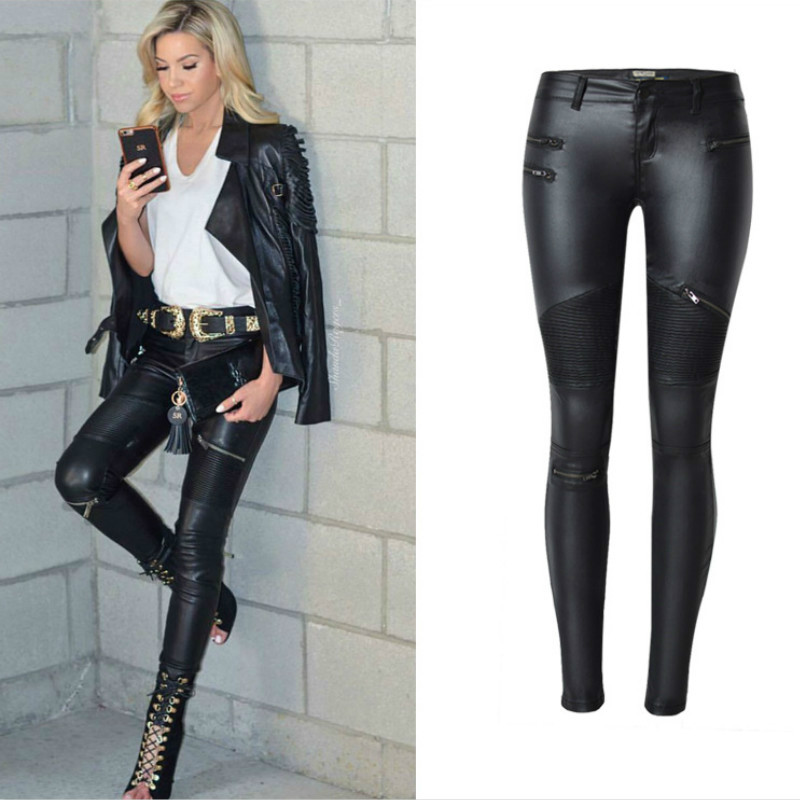 Locomotive Section Fashion Low Waist   Jeans   Women Europe America PU Quality Black Skinny Pantalon Femme Push Up Sexy   Jeans   Mujer