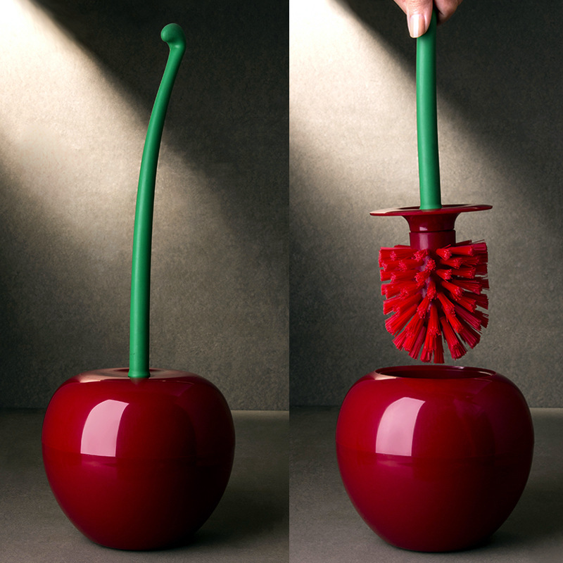 Lovely Cherry Shape Lavatory Brush Toilet Brush & Holder Set Creative Cleaning Tool Plastic Bathroom Accessories Red Green