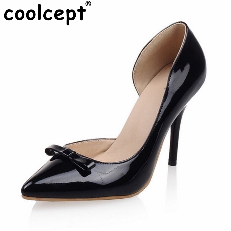 women stiletto bowknot thin high heels wedding shoes pointed toe patent leather fashion pumps heels shoes size 33-40 P22809 bowknot pointed toe women pumps flock leather woman thin high heels wedding shoes 2017 new fashion shoes plus size 41 42