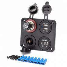 все цены на 12V Car Dual USB Ports Adapter Charger + Voltmeter + Cigarette Lighter Socket with Lighter онлайн