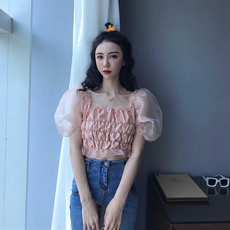 Sexy Colheita Blusa Mulheres Gaze Ver Através de Malha Sexy Top Blusas de Verão 2019 Camisa Do Vintage Elegante Plissado Coreano V884