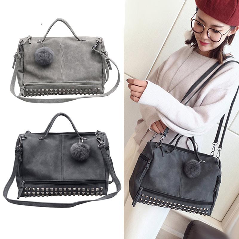 Pu Bags New Bag Handbags Women Wml99 2018 Leather Shoulder Rivet Frosted Vintage Ladies Fashion Large Crossbody 7qwwTX