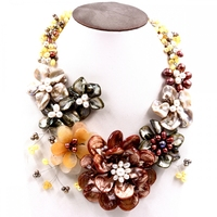 2017 Europe brand Luxury mother of pearl shell yellow stone freshwater pearl chokers necklace Choker Necklaces