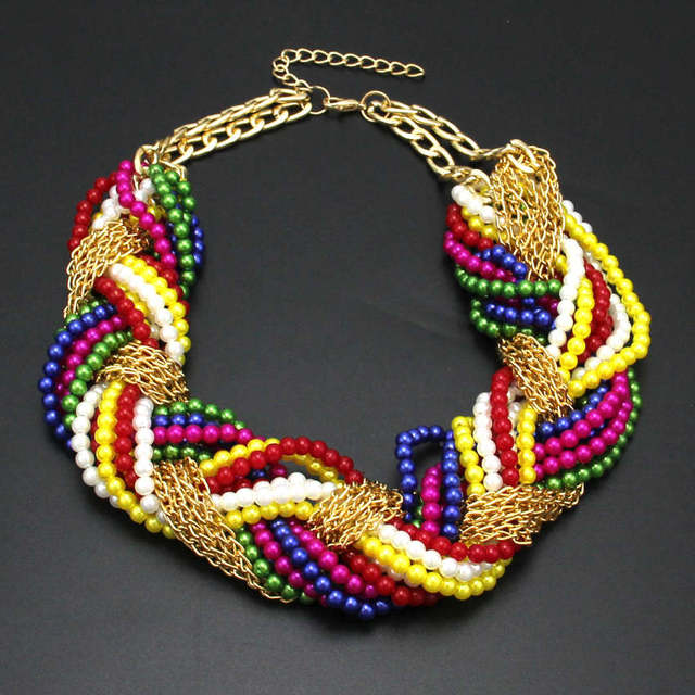 Multi layer Simulated Pearl Statement Chokers Necklaces For Women/Handmade Woven Chain Multi-Color Beaded Chunky Necklace