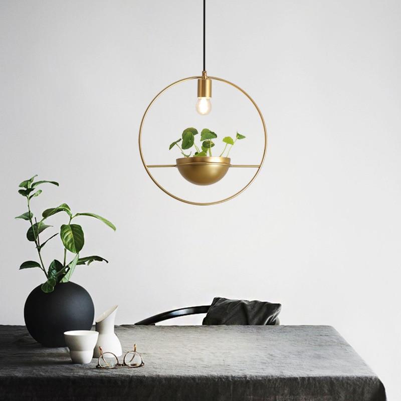 simples modern led lustre varanda plantas de ouro rodada restaurante bar vitrine do norte da europa