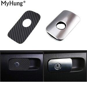Car Glove Box Switch Decorative And Carbon Fiber Sticker Cover For Volkswagen VW Tiguan 2010 To 2015 Auto Accessories 1pc(China)