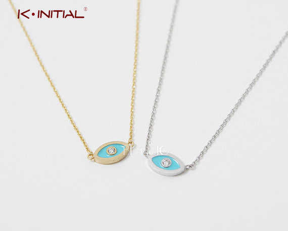 Kinitial kolye Evil Eye Necklace Spiritual Necklace Statement Charm Lucky Eye Jewish Nazar Arabirc collares de moda 2019