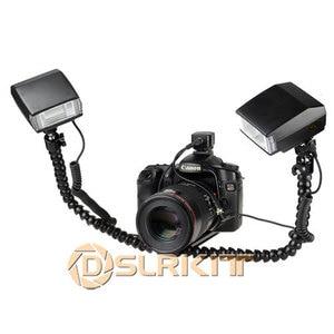 Image 2 - Macro Shooting Dual arm Bracket and Mini Flash Pc sync Set for Nikon