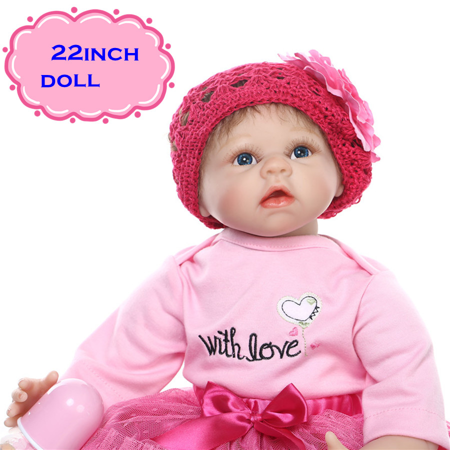 22Inch Soft NPK Real Silicon Baby Dolls As Christmas Doll Gifts Realistic Newborn Bonecas Do Bebe With Magnet Pacifier For Girl hot sale 2016 npk 22 inch reborn baby doll lovely soft silicone newborn girl dolls as birthday christmas gifts free pacifier