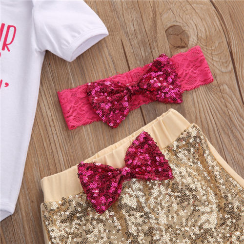 2017 Newborn Cute Baby Girls Clothing Set Cotton crib hair Romper +Sequin Pants+Headband  Outfits 3Pcs Set Clothes