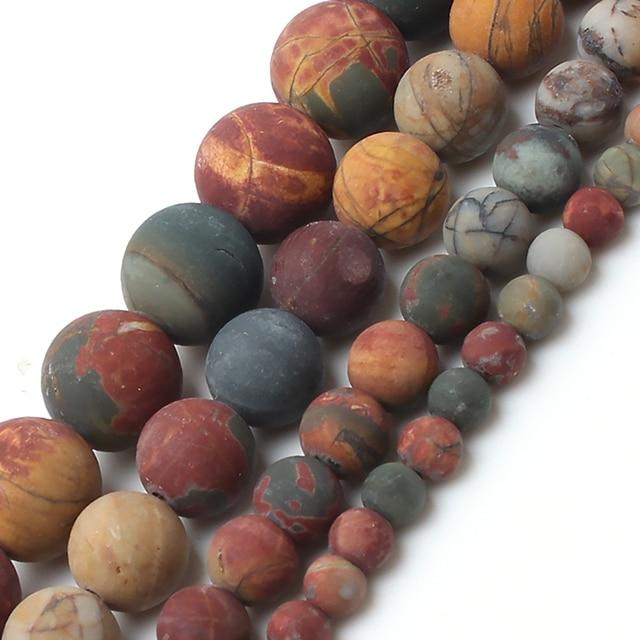 Perles rondes en pierre de jaspe Picasso mat mat polonais mat pour la fabrication de bijoux Bracelet collier 4/6/8/10mm 15 pouces